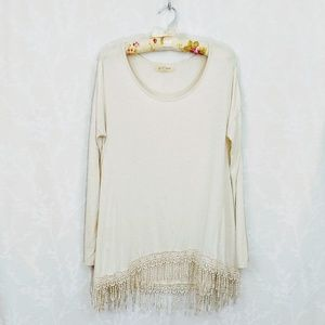 Black Swan | Oversized Tunic with Fringe | XS